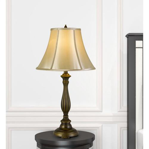 150W 3 Way Meath Aluminum Casted Table Lamp With Softback Faux Silk Shade