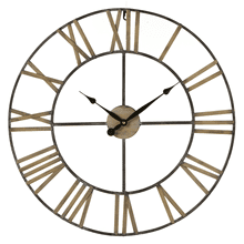 Distressed Black & Gold Open Face Wall Clock with Roman Numerals