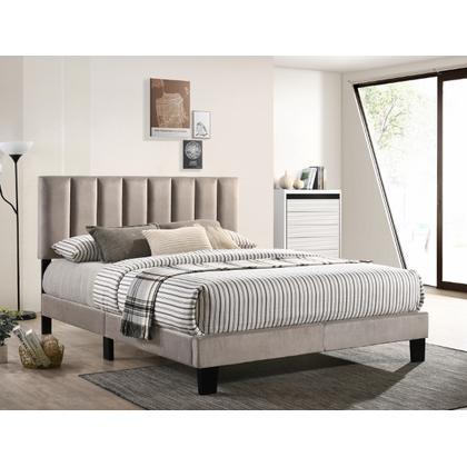 See Details - Lyric King Platform Bed Grey Velvet