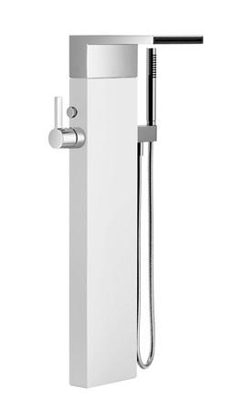 Single-lever tub mixer with cascade spout for freestanding installation with hand shower set - chrome Product Image