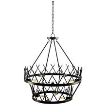 "Greer (27""x32.5"") Black Metal Two-Tier Chassis Nine Bulb Chandelier"