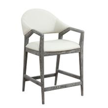 Barstool-slate Finish-w/upholstered Back & Seat-white Pu#r441-set Up