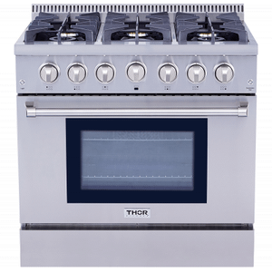 "Thor36"" Pro-style 6 Stainless Steel Burner Gas Range"
