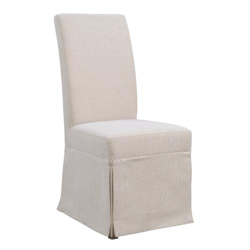 Paladin Upholstered Skirted Parsons Dining Chair, Linen Buff D350-22-39