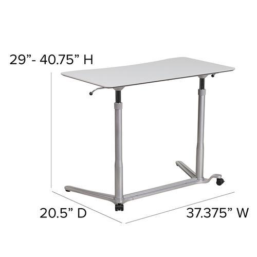 Flash Furniture - Sit-Down, Stand-Up Light Gray Computer Ergonomic Desk with 37.375''W Top (Adjustable Range 29'' - 40.75'')