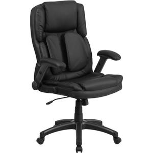 Gallery - Extreme Comfort High Back Black LeatherSoft Executive Swivel Ergonomic Office Chair with Flip-Up Arms