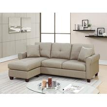 Faizel 2pc Sectional Sofa Set, Beige-glossy