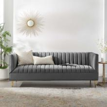 Shift Channel Tufted Performance Velvet Sofa in Gray