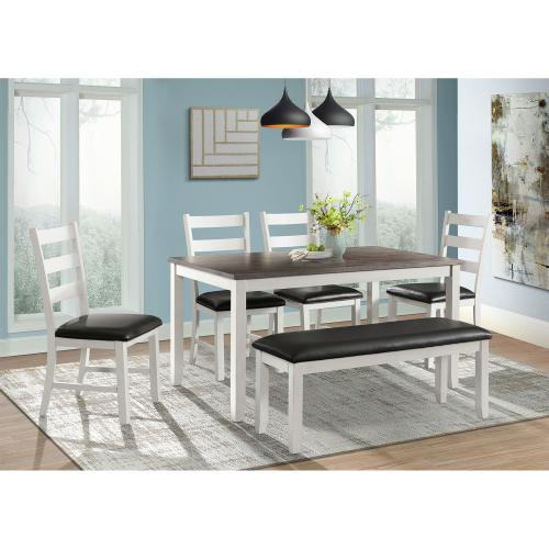 Martin Brown 6PC Dining Set-Table, Four Chairs & Bench
