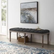 Province French Vintage Upholstered Fabric Bench in Gray