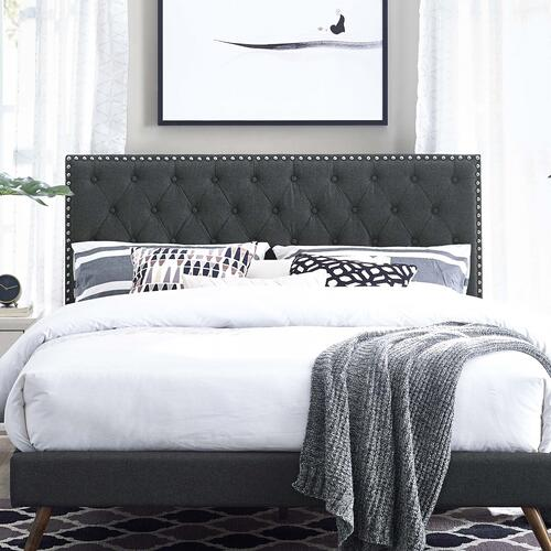 Modway - Helena Tufted Full / Queen Upholstered Linen Fabric Headboard in Gray