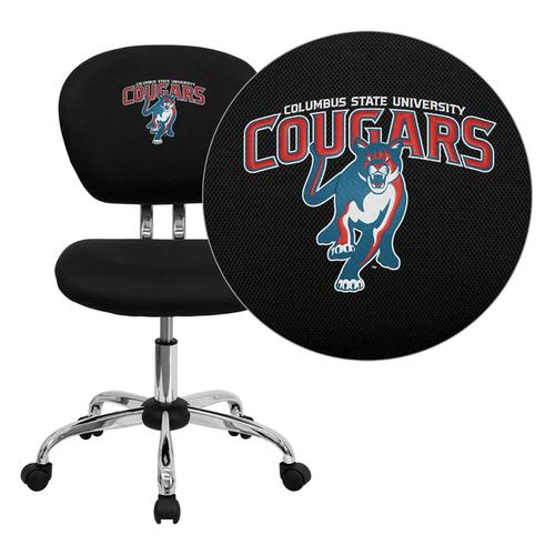 Columbus State University Cougar Embroidered Black Mesh Task Chair with Chrome Base