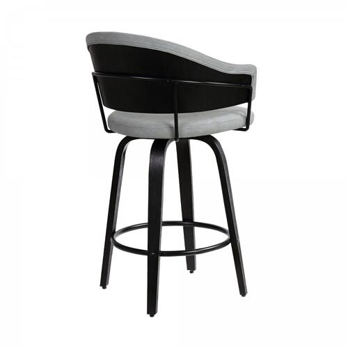 """Armen Living - Doral 30"""" Dark Gray Faux Leather Barstool in Black Powder Coated Finish and Black Brushed Wood"""