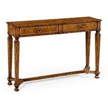 Empire style walnut two drawer console