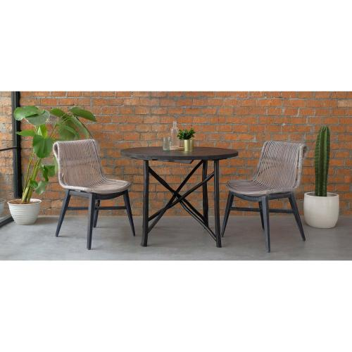 Iria Rattan Chair Black White Wash Legs, Gray White Wash