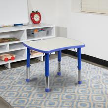 See Details - 21.875''W x 26.625''L Rectangular Blue Plastic Height Adjustable Activity Table with Grey Top