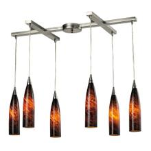 Lungo 6-Light H-Bar Pendant Fixture in Satin Nickel with Espresso Glass