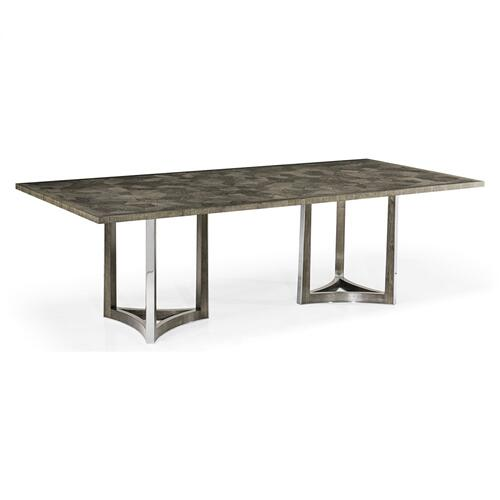 "96"" Gatsby Contemporary Rectangular Grey Natural Eucalyptus & Stainless Steel Dining Table with Random Cut Top"