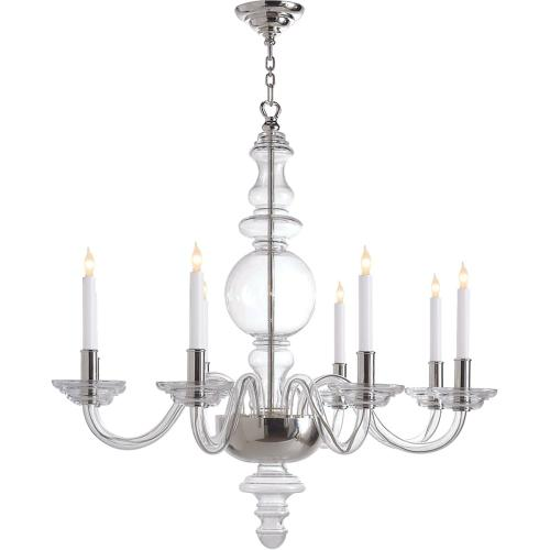 Visual Comfort CHC1144CG/PN E. F. Chapman King George 8 Light 36 inch Crystal with Polished Nickel Chandelier Ceiling Light