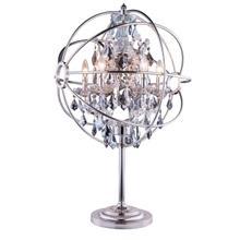 See Details - Geneva 6 light Polished nickel Table Lamp Silver Shade (Grey) Royal Cut crystal