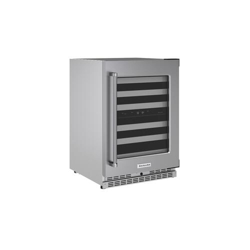 """KitchenAid Canada - 24"""" Undercounter Wine Cellar with Glass Door and Metal-Front Racks - Stainless Steel"""
