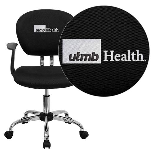 Texas Medical Branch Galveston Embroidered Black Mesh Task Chair with Arms and Chrome Base
