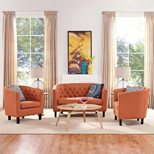 Prospect 3 Piece Upholstered Fabric Loveseat and Armchair Set in Orange
