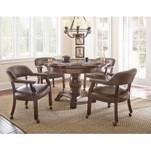 Tournament 6 Piece Dining/Game Table Set - Brown Chairs(DiningTable, Brown Game Top, & 4 Captain's Chairs)