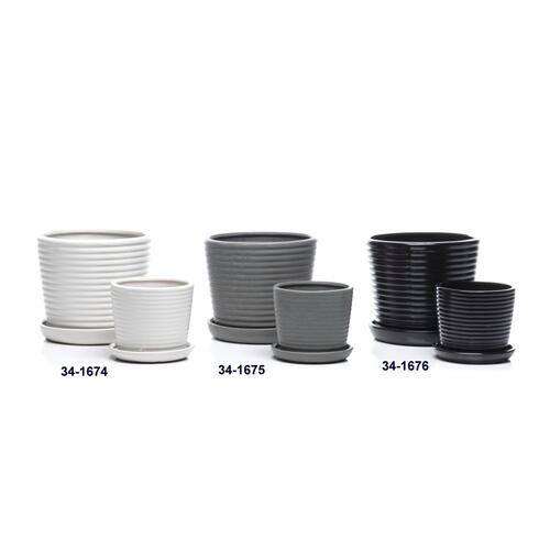 Ringlet Petits Pots w/ attached saucer, Salt - Set of 2 (Min 4 sets)