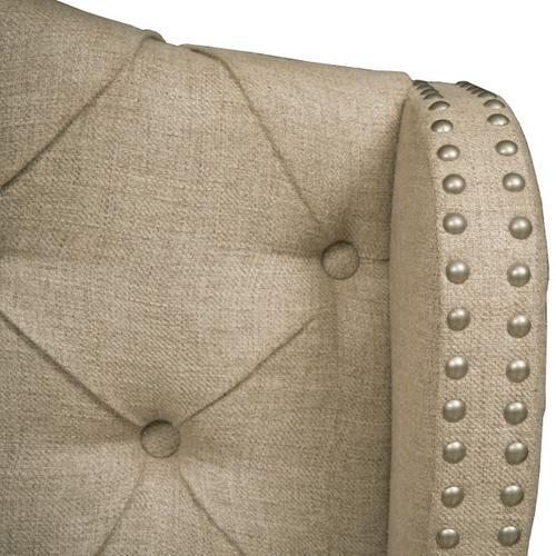 Button Tufted Linen Upholstered Queen Headboard