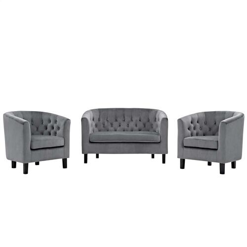 Prospect 3 Piece Performance Velvet Loveseat and Armchair Set in Gray