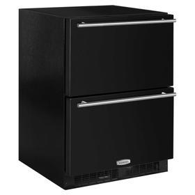 24-In Built-In Refrigerated Drawers with Door Style - Black, Door Swing - Field Reversible