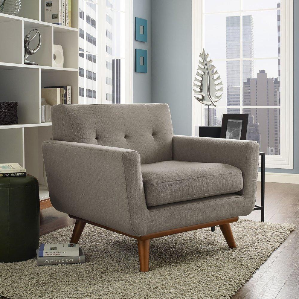 Engage Upholstered Fabric Armchair in Granite
