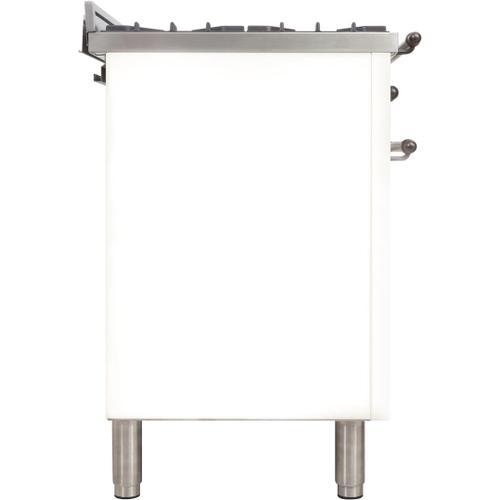 Nostalgie 36 Inch Dual Fuel Liquid Propane Freestanding Range in White with Bronze Trim
