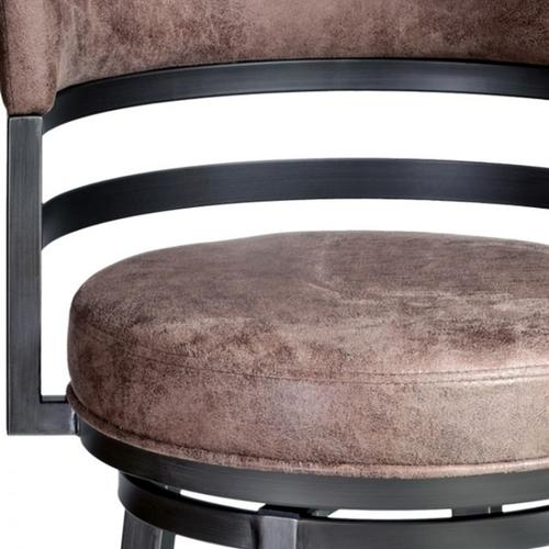 """Armen Living Madrid 30"""" Barstool in Mineral finish with Bandero Tobacco upholstery"""
