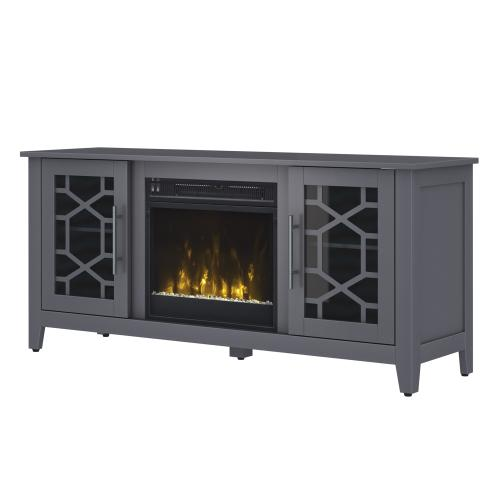 """Classic Flame - Clarion TV Stand for TVs up to 60"""" with Electric Fireplace, Cool Gray"""