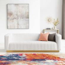 Charisma Channel Tufted Performance Velvet Living Room Sofa in White
