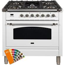 Nostalgie 36 Inch Dual Fuel Natural Gas Freestanding Range in Custom RAL Color with Chrome Trim