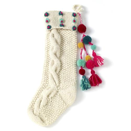 "6.25""x 20"" Red Hand Knit Stocking (Dots/ Tassels Option)"