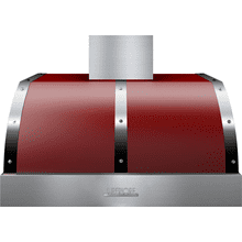 Hood DECO 36'' Red matte, Chrome 1 blower, electronic buttons control, baffle filters