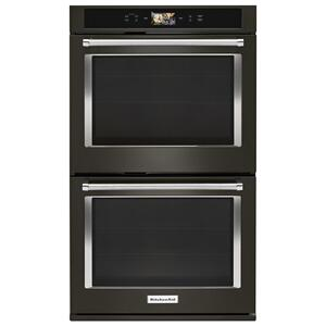 "KitchenaidSmart Oven+ 30"" Double Oven with Powered Attachments and PrintShield™ Finish - Black Stainless Steel with PrintShield™ Finish"