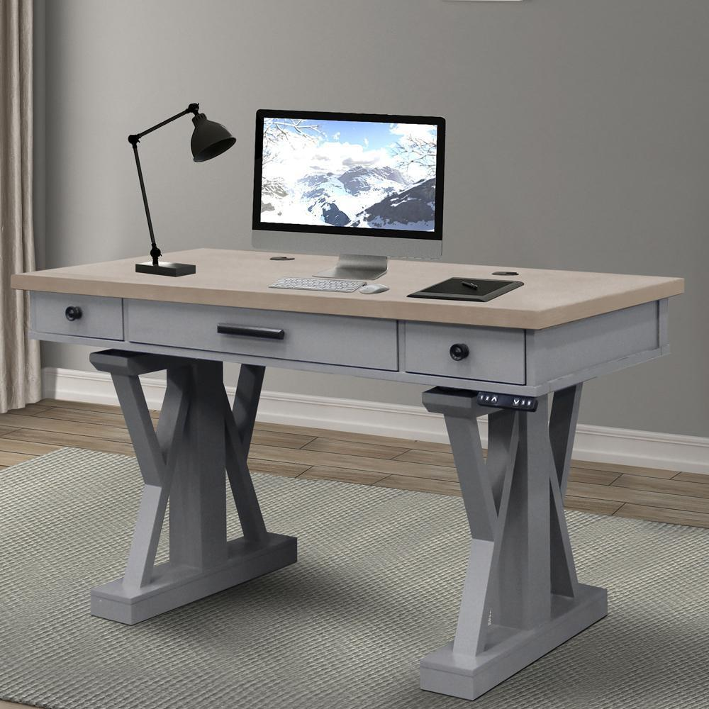 AMERICANA MODERN - DOVE 56 in. Power Lift Desk (from 23 in. to 48.5 in.) (AME#256T and LIFT#200WHT)