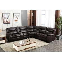 8001 BROWN Air Leather Reversible Sectional Sofa w/ Power & USB