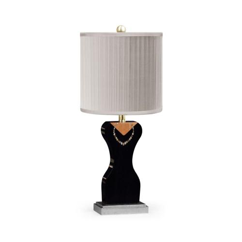 """Julian's """"Coco's """"string of pearls and little black dress"""" lamp"""