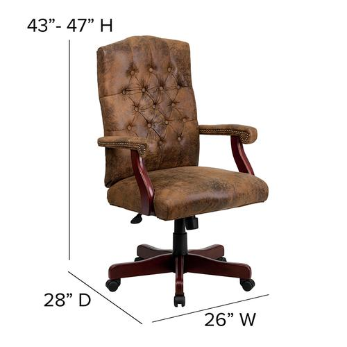 Gallery - Bomber Brown Classic Executive Swivel Office Chair with Arms