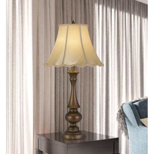 150W 3 Way Clare Aluminum Casted Table Lamp With Softback Scalloped Faux Silk Shade