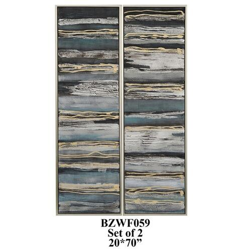 Crestview Collections - SET OF 2 abstract with silver PS outer frame 1SET/5.5'