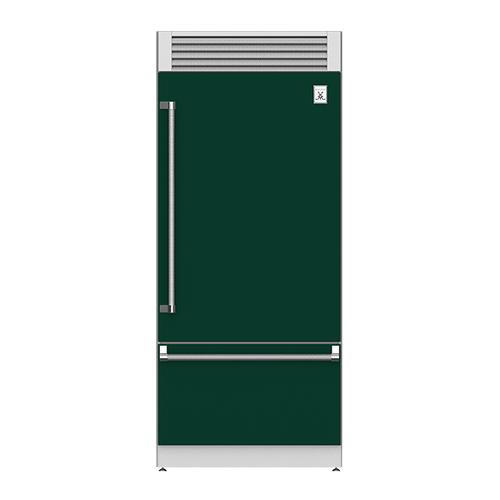 "Hestan - 36"" Pro Style Bottom Mount, Top Compressor Refrigerator - KRP Series - Grove"