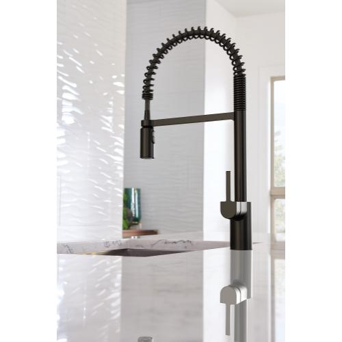 Product Image - Align Spring Matte Black One-Handle High Arc Pulldown Kitchen Faucet