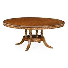 "70"" Burl & mother of pearl round 70 3/4"" dining table"